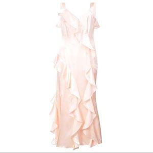 Cinq a Sept Gigi Blush Ruffle Satin Dress Sz 4/Sm